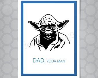 Star Wars Yoda Fathers Day or Birthday Funny Illustrated Card