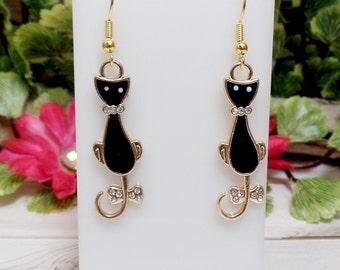 Black Cat Earrings - Elegant Cat Earrings - Rhinestone Cat Earrings