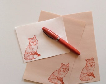 orange fox stationery letter set on creamy caramel paper with matching cream envelope - for your foxiest pen pal