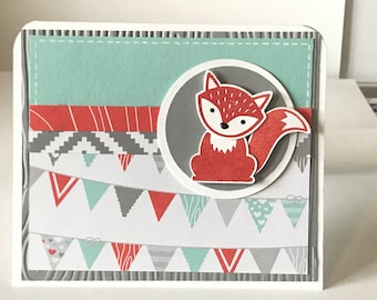Handmade Foxy Birthday Card - Set of 10