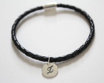 Leather Bracelet with Sterling Silver Cursive Z Letter Charm, Bracelet with Silver Letter Z Pendant, Initial Z Charm Bracelet, Z Bracelet
