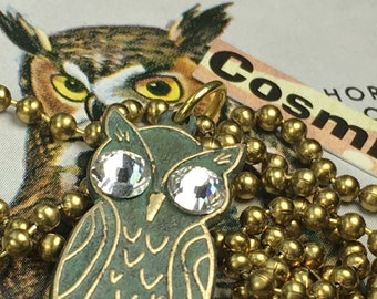 Verdigris Owl Necklace Small Owl Pendant Necklace Miniature Owl With Crystal Eyes Green Brass Verdigris