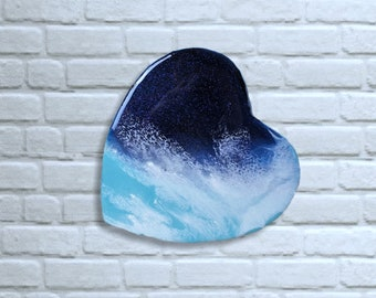 Ocean Resin Painting Blue Green on Heart Canvas, Sea Painting, Water Painting, Water Painting, Sea Picture, Resin Painting, abstract art