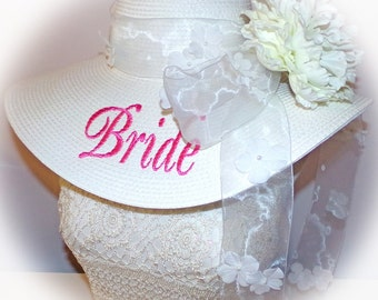 Monogrammed Bride Floppy Hat, Bridal Party Hat, Wedding Party Hats,  Mother of Bride, Sister of Bride, Personalized Bride Hat