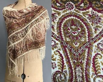 Edwardian paisley shawl in silk crepe