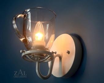 Wall light, Glass Coffee Mug. Sconce.