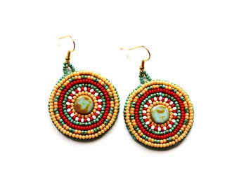 Tribal inspired Turquoise Red Bead Embroidery Earrings Seed bead jewelry Boho Beadwork round earrings Bead Embroidered jewelry for women