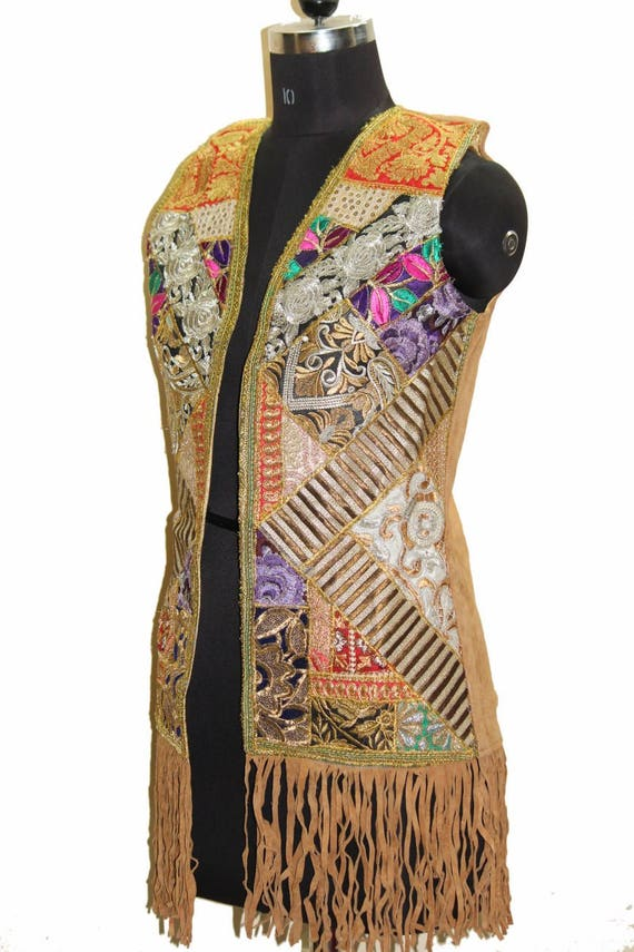 Rajasthani handmade Vintage Designer Brown Leather Badmeri Jacket Jacket Work Rabari Indian Traditional Ethnic Exclusive Embroidered Multi WCWxfUEzr5