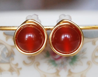 Carnelian Stud Earrings , Bridesmaid Earrings , Red Orange Earrings , Wire Wrapped Studs , Fall Earrings
