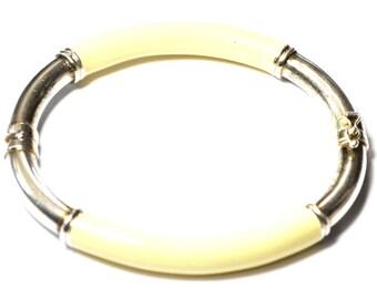 "Sterling Vanilla Ivory Enamel Milor Hinged Hollow Oval Bangle Bracelet 7mm 8.5"""