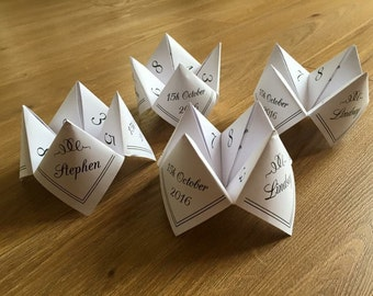 Paper fortune tellers, wedding table games. printed ready for you to fold. Old school cootie catchers
