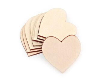 50pcs. (4cm) Mini Wooden Hearts Shape Craft Decoration Gift  Laser Cut Love MG000222