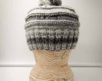 """Hand Knitted """"Tonal Toorie"""" beanie hat in shades of grey with sparkles"""