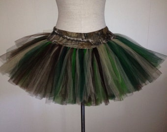 Adult Fluffy Girl Mud Run Camo Plus Size TuTu