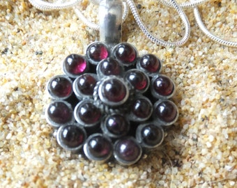 Garnet and Sterling Silver Necklace with 30 inch sterling chain