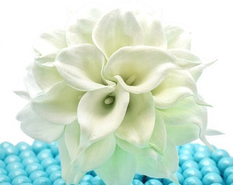 White Wedding Bouquet - Two Dozen Real Touch Artificial Calla Lilies - Select Ribbon and Pin Colors