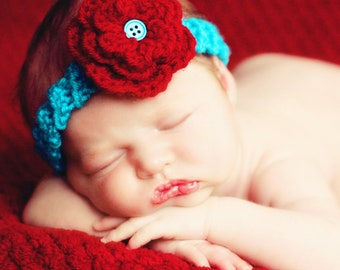 Hat Easy CROCHET PATTERN Baby Child Headband with Triple Flower in 5 sizes 0-10 years