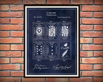 Patent 1873 Playing Cards - Tarot Cards Patent Art Print - Wall Art - Psychic Wall Art - Fortune Teller Cards - Euchre Cards - Game Room Art