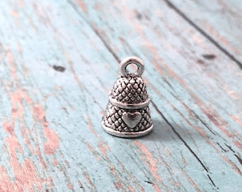 8 Small Thimble charms antique silver tone (3D) - sewing charms, seamstress charms, craft charms, silver thimble pendants, HH11