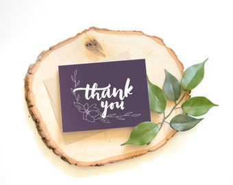 Thank You Card . Hand lettered . hand drawn . modern calligraphy . 4.25 x 5.5 . handlettering . flower . wedding thank you cards