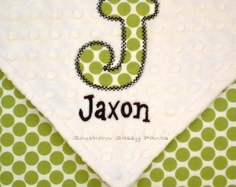 Monogrammed Baby Boy Blanket - Personalized Minky Security Blanket - Applique Initial and Embroidered Name - LIMITED but still available