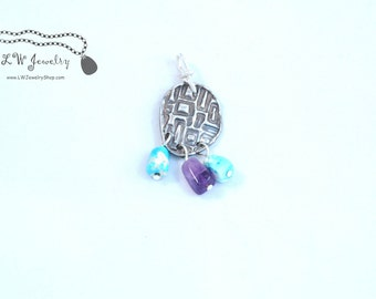 Fine silver , pendant,  abstract, turquoise, amethyst.
