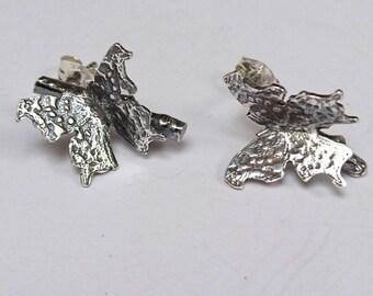 Sterling silver handmade butterfly earrings, Hallmarked in Edinburgh