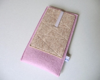 """iPhone 4,5,6,7,8,X sleeve """"rose pocket"""", pure new wool felt, custom size, shock-absorbing, insulating, water-repellent, Samsung, iPod case"""