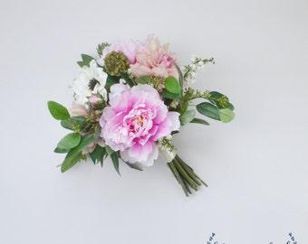 Silk Bouquet - Artificial Bouquet, Wedding Bouquet, Peony Bouquet, Boho Bouquet, Garden Bouquet, Wedding Flowers, Silk Flowers, Arrangement