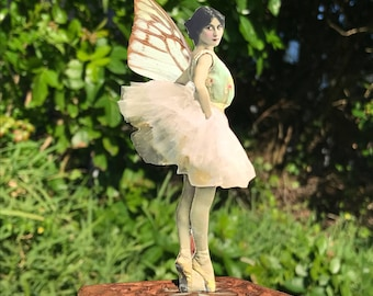 """Vintage Photo Fairy with Real Butterfly Wings// Custom Available// Fairy on Stage// """"Prima"""""""