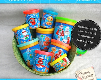 Robots Party Favors Dough Wrappers, printable labels that fit Play doh® cans, non-candy treats, kids birthday party, boys robot labels
