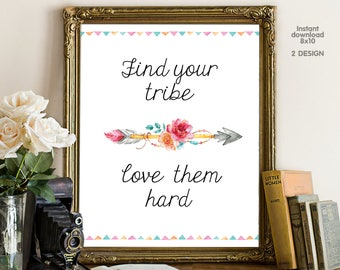 Find your tribe love them hard, bedroom decor, livingroom decor, floral decor typography inspirational wall decor, Motivational Wall Art