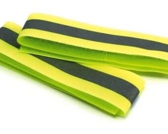 "Two Armbands Yellow Reflective Hi Visibility Arm Band Safety Viz Size 24 cm X 5 cm - 9.5 X 2"""
