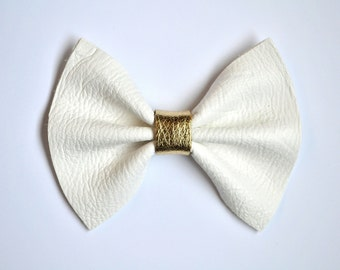 White Leather Gold Bow for Newborn Baby Little Girl Child Adult Beautiful Adorable Spring Baby Blessing Baptism Bow Photo Prop Pictures