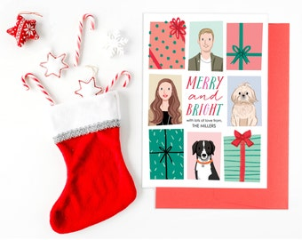 Custom Illustrated Family Portrait Christmas Holiday Card featuring presents - Digital File