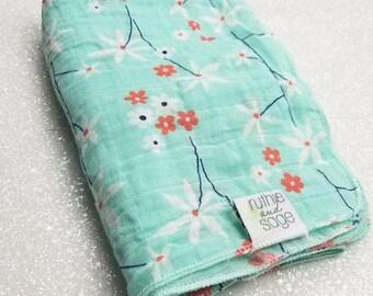 Swaddle blanket, wrap blanket, double gauze, cotton newborn wrap, cotton, Daisy, photography prop, baby blanket, modern baby girl, baby boy
