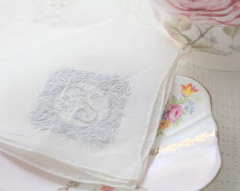 "HANDKERCHIEF, Vintage Script Monogrammed, Embroidered Ladies' Handkerchief, Letter ""P"", Bride to Be, Bridal Shower Gift Inspiration"