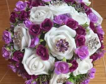 Purple bouquet, lilac bouquet, violet bouquet, white bouquet, brooch bouquet, lavender bouquet bridal bouquet, wedding bouquet