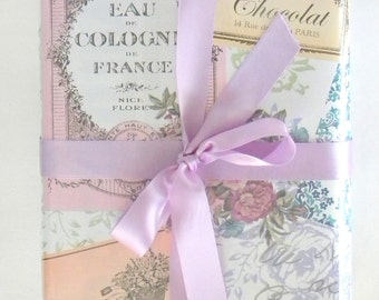 Vintage Paris Themed Feminine Wrapping Paper 10 ft Roll with a Pearl Finish, Spring Floral Gift Wrap, Wedding Gift Wrap, Wedding Shower Wrap