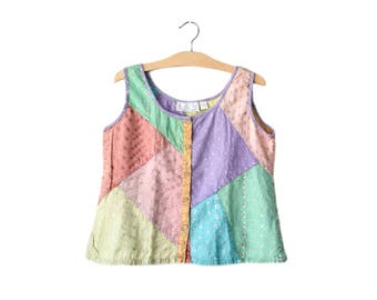 90s patchwork tank top | S/M
