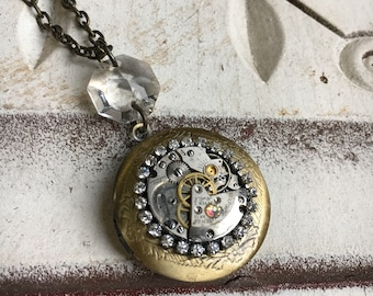 Treasured Time Steampunk Locket with Antique Watch Movement, Vintage Steampunk Necklace