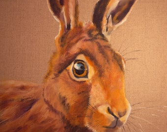 Hare 3.  Original oil painting on canvas board. Framed 38.5cm x 48.5cm. Picture size 30cm x 40cm.