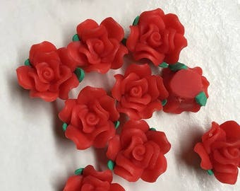 130 20x15x1.5 red polymer clay beads