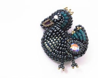 bird brooch, bird pin, embroidered bead brooch, handmade beaded bird brooch