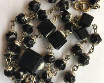 Vintage Black Glass Bead Necklace Possibly Czech