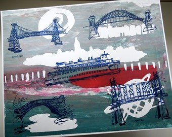 THE FIVE BOROUGHS #35 | travel sketches of New York City bridges, hand printed in bright blue over rainy day colors by Kathryn DiLego