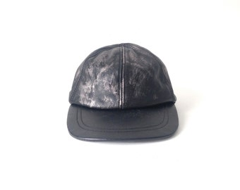 BLACK & SILVER leather cap vintage 90s hat