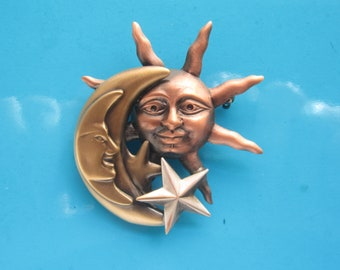 Celestial Brooch- Sun Moon Stars- Celestial Jewelry- Celestial Pin