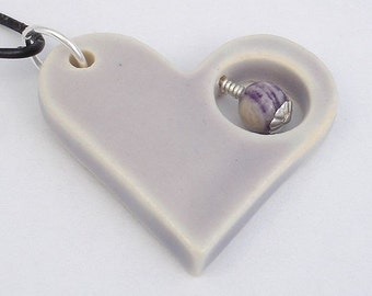 Lavender purple heart shaped pendant (JLP-S002-1)