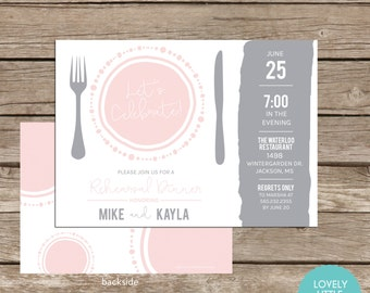 Rehearsal Dinner Invitation- Celebrate the Plate Collection -DIY Printable or Printed -  Lovely Little Party